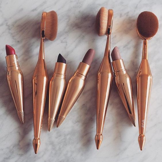 copper, cosmetics, lipsticks, make up, make up brushes