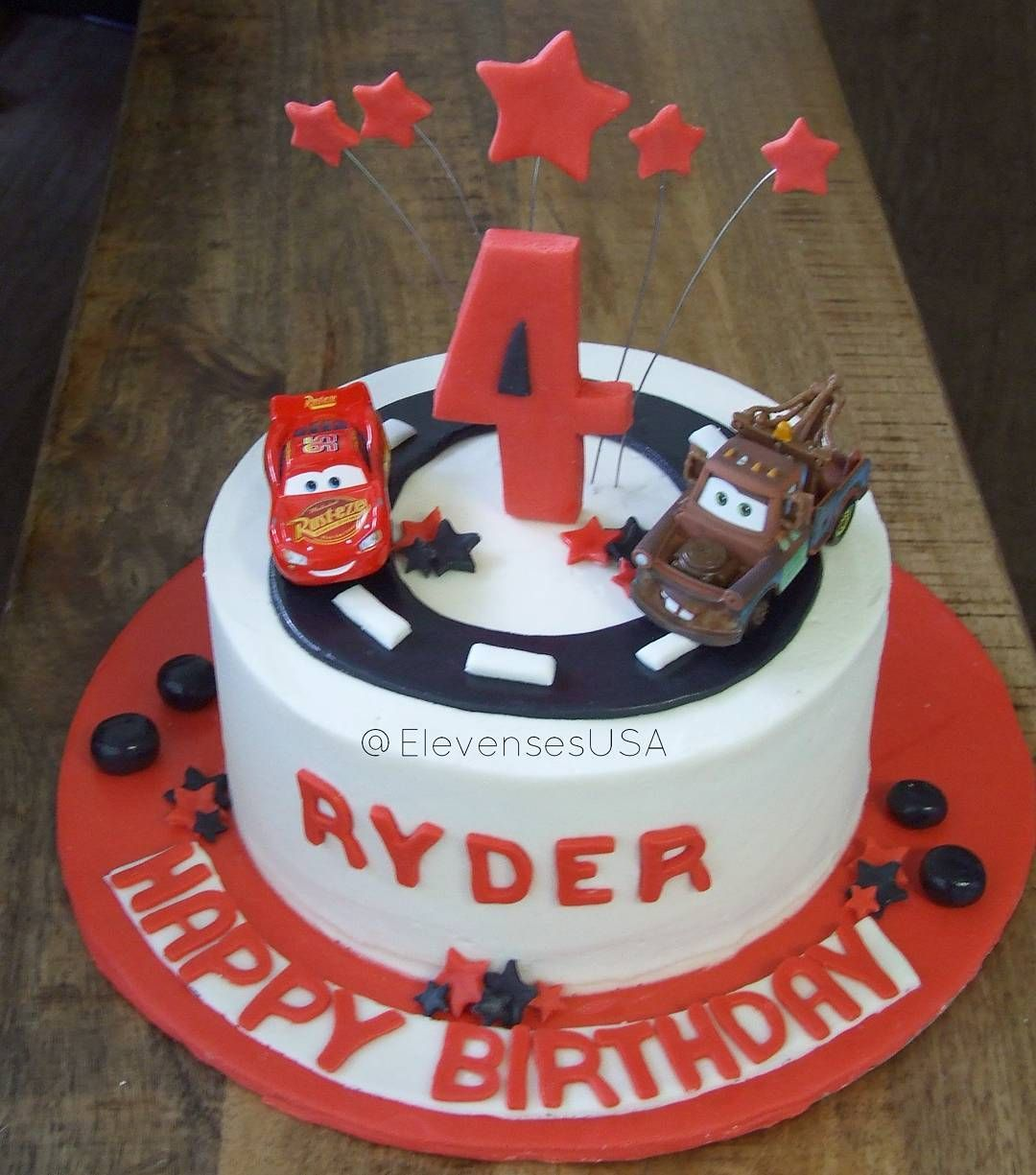 Excellent Cars Birthday Cake Complete With Lightning Mcqueen And Mater Personalised Birthday Cards Veneteletsinfo
