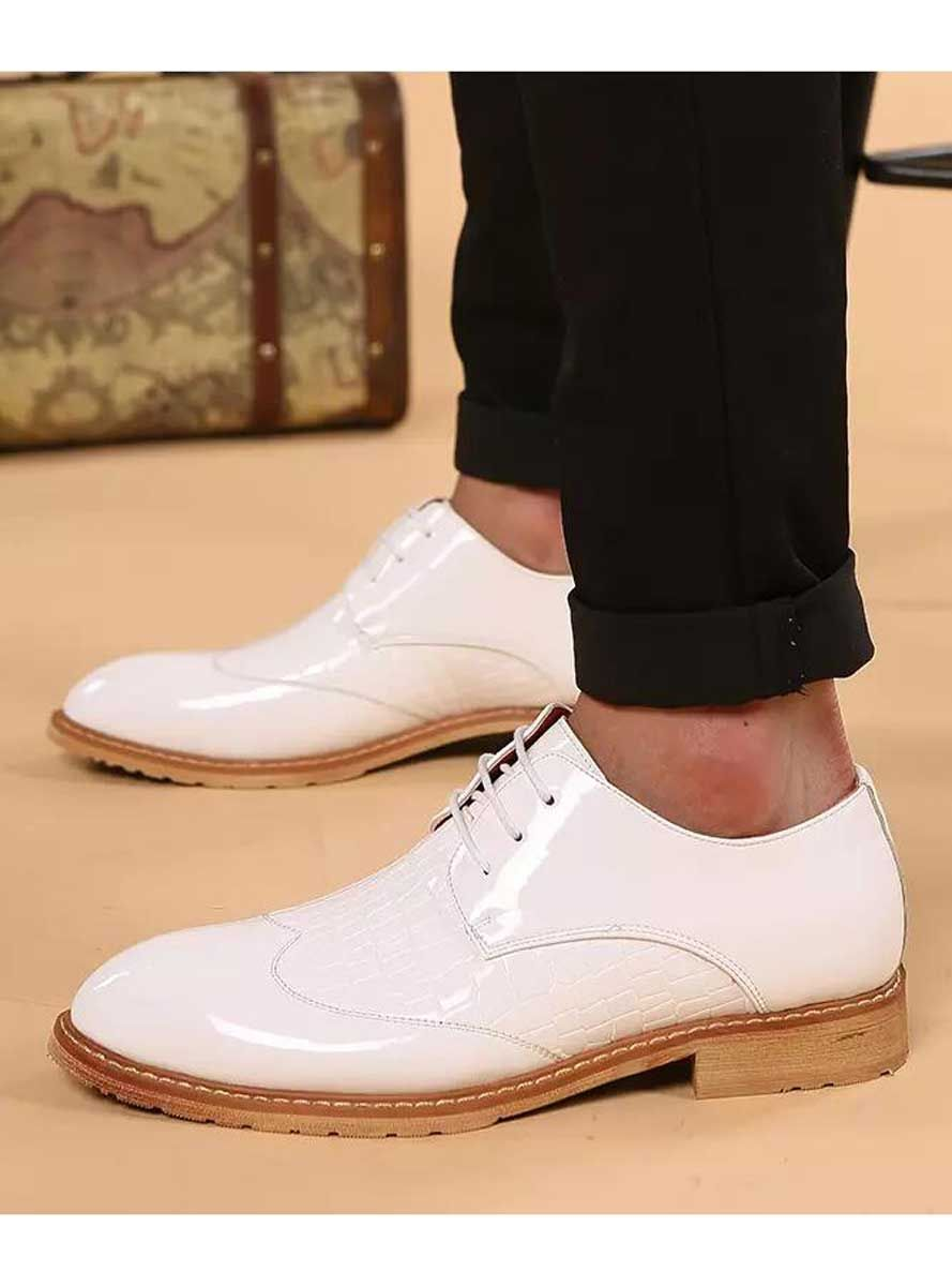 Men S White Crocodile Skin Pattern Leather Derby Dressshoes Point Toe Pointed Toe Shoes White Dress Shoes White Leather Dress Shoes [ 1200 x 889 Pixel ]