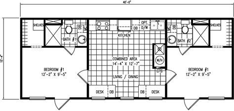 Shared Housing - 16 x 40 mobile home floor plans for 2 br with