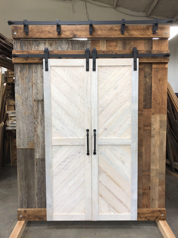 Whitewashed Barn Door Wood Barn Door Reclaimed Wood Design Barn Door