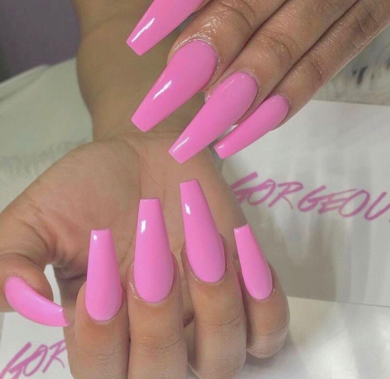 DIY NAILS in 2020 | Pink acrylic nails, Pink acrylic nail