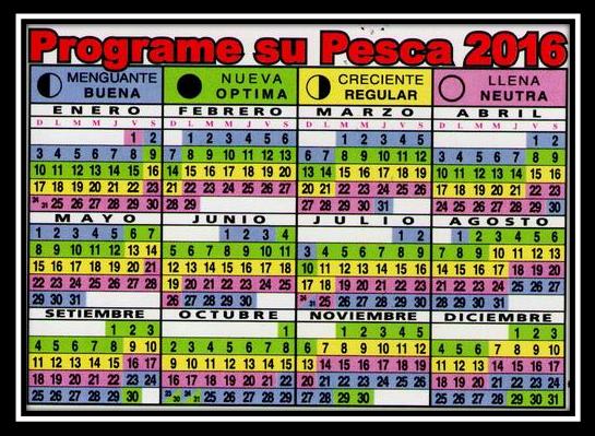 Calendario De Pesca.Calendario Pesca 2016 Pesca Consejos De Pesca Pesca Y Aparejos