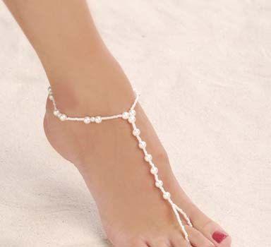 Bridal Sandals Barefoot Beach Wedding Foot Wear Jewelry All Pearls Bridesmaid 20 00 Via Etsy