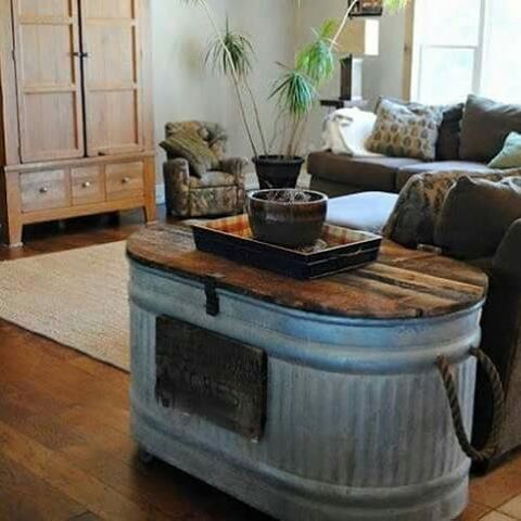 Delightful Cute End Table Idea Cattle Tank Table.Not My Style, But A Clever Idea  And  Thatu0027s A Lot Of Hidden Storage Space.