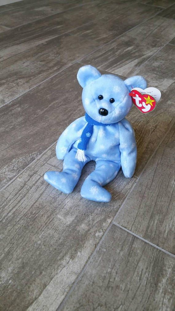 c7a04801774 Holiday Teddy Bear TY Beanie Baby Vintage Collectible Original Blue  Snowflake Plushie Girl Boy Toy H