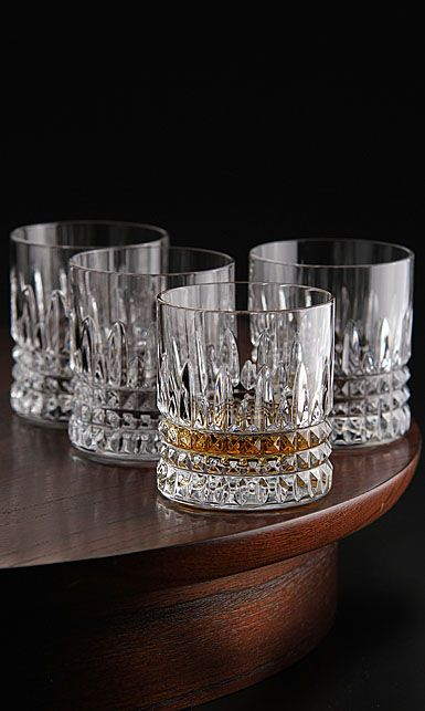 Waterford Crystal Lismore Diamond Straight Sided Crystal Whiskey Tumblers Set Of Four Crystal Whiskey Glasses Crystal Glassware Waterford Crystal