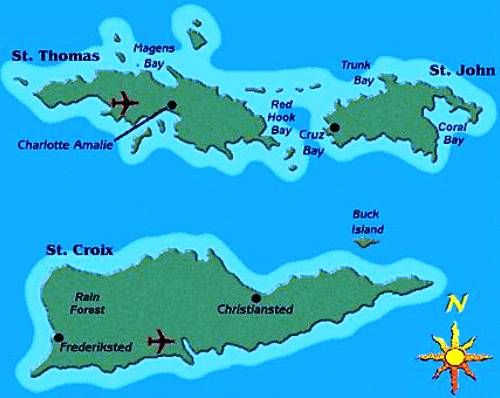 US Virgin Islands Map showing the three Islands Tuchman Beaches