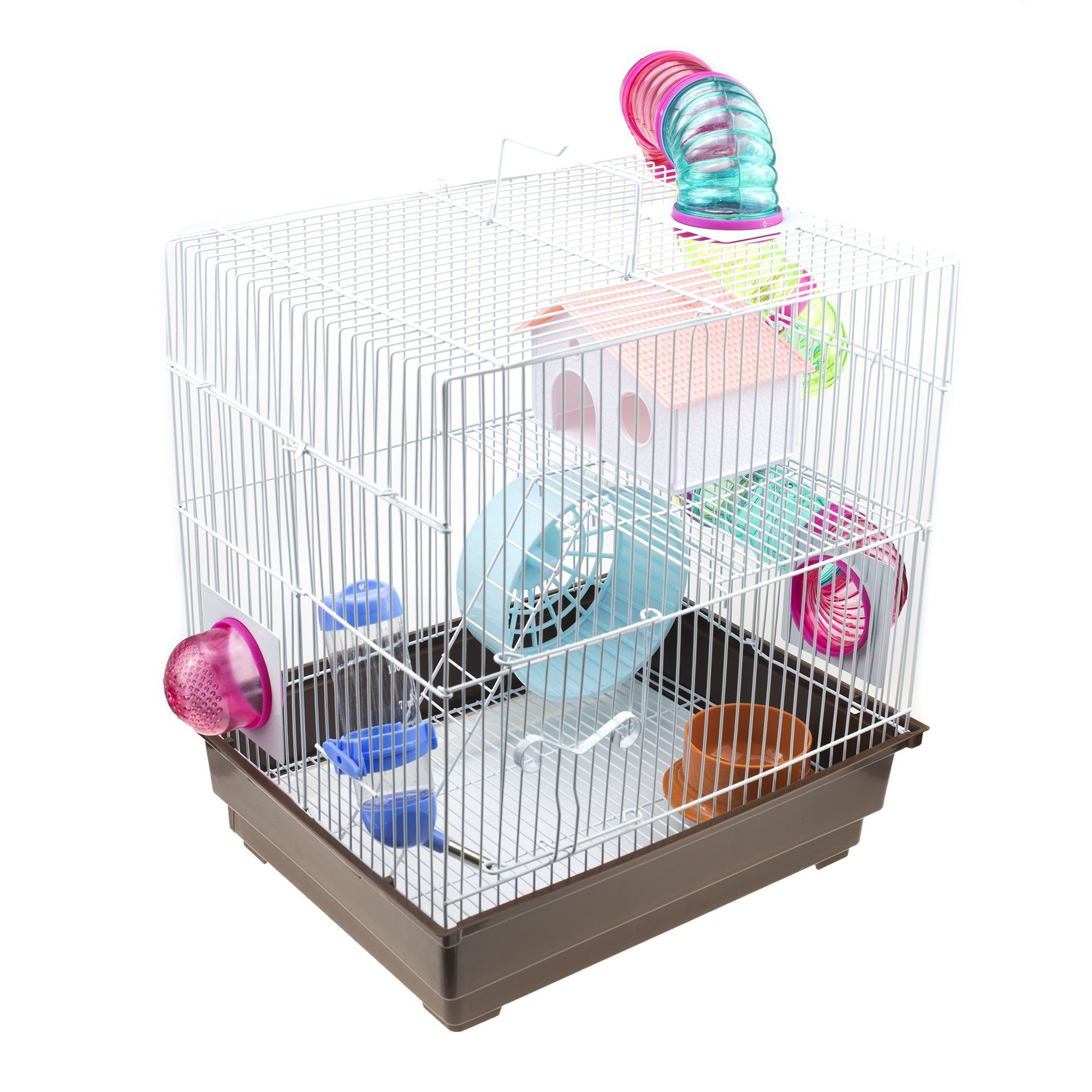 Gnb Pet Hamster Cage Diy With Tunnels Tubes Wheel 2level Habitat Brown You Could Get More Information By Clickin Small Animal Cage Hamster Cage Hamster Toys