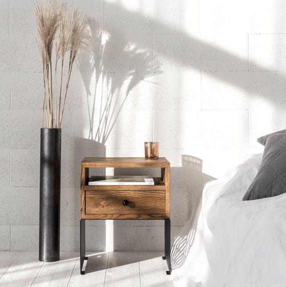 Best Modern Industrial Nightstand Modern Bedside Solid Oak 640 x 480