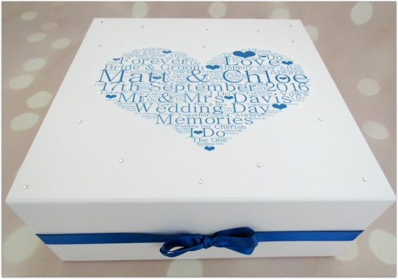 Xl Wedding Day Keepsake Box With Crystal Gems Personalised Wedding