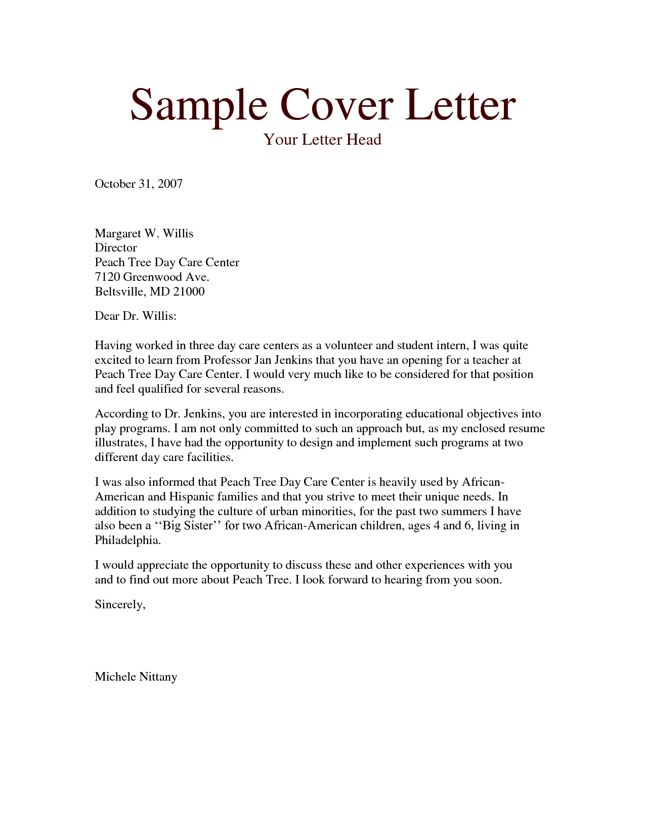 sample daycare cover letter converza co