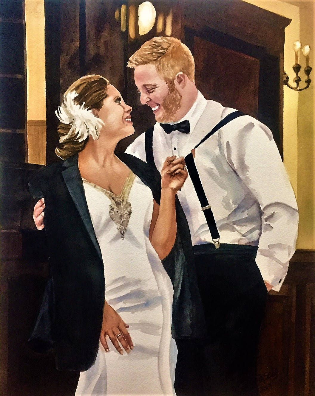 Custom wedding portrait watercolor painting. Romantic gift