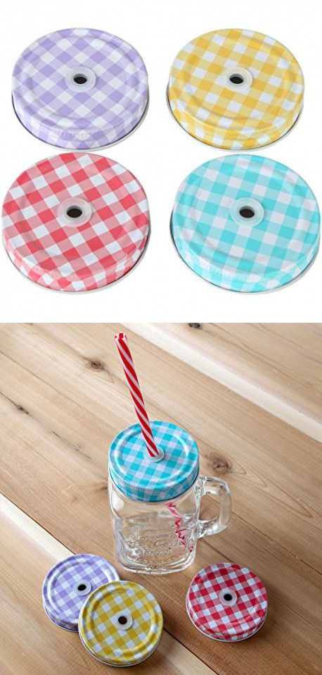 Lily's Home SW40 Decorative Straw Lids For Mason Jars Canning Custom Decorative Lids For Canning Jars