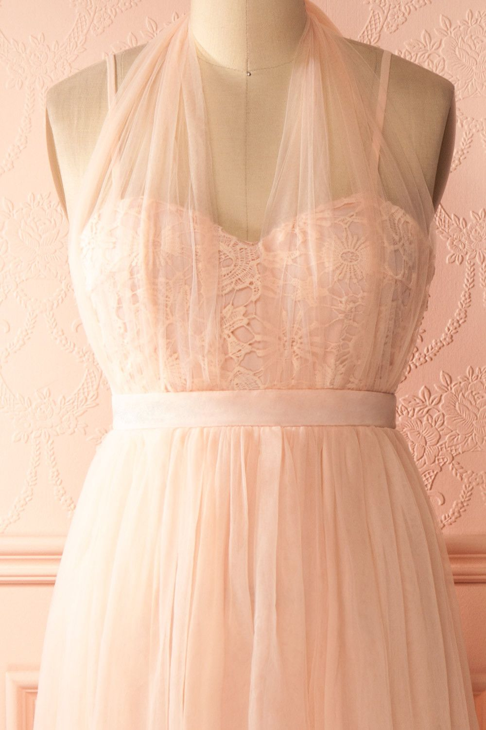 Pastel pink bridesmaid dress  Nadiya Candy  Pastel pink tulle and lace halter gown   Wedding