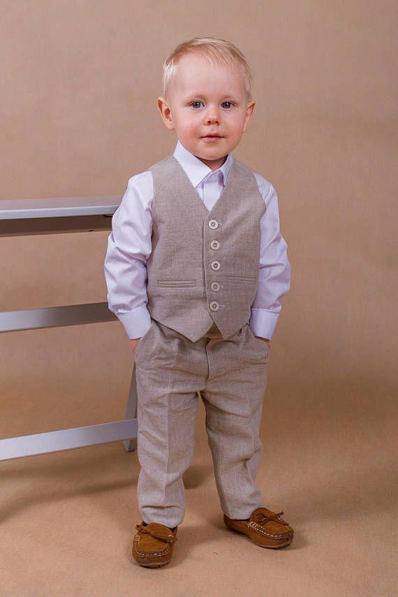 9ff2b0a2e8 Ring bearer outfit Boy wedding suit Linen boy suit Boy wedding ...