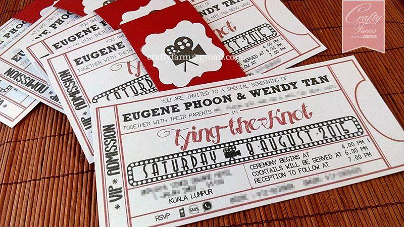 Hollywood movie ticket themed wedding card with belly band kuala hollywood movie ticket themed wedding card with belly band kuala lumpur malaysia singapore stopboris Gallery