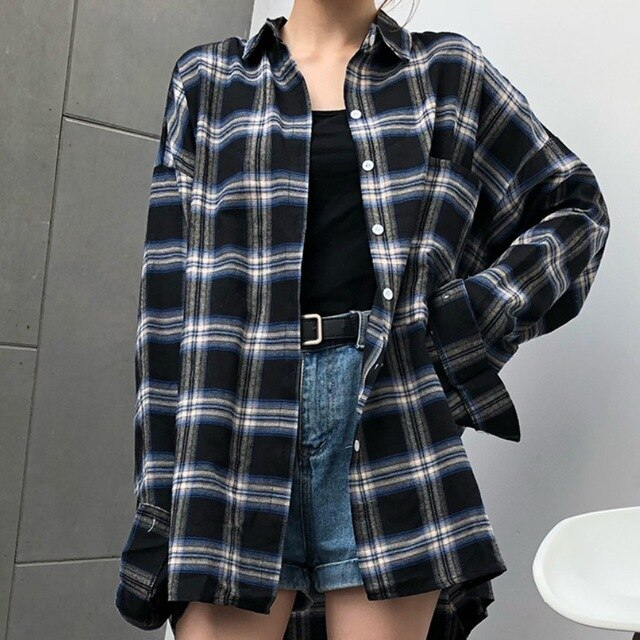 Oversized Plaid Long Shirt Loose Blouse Tops SF