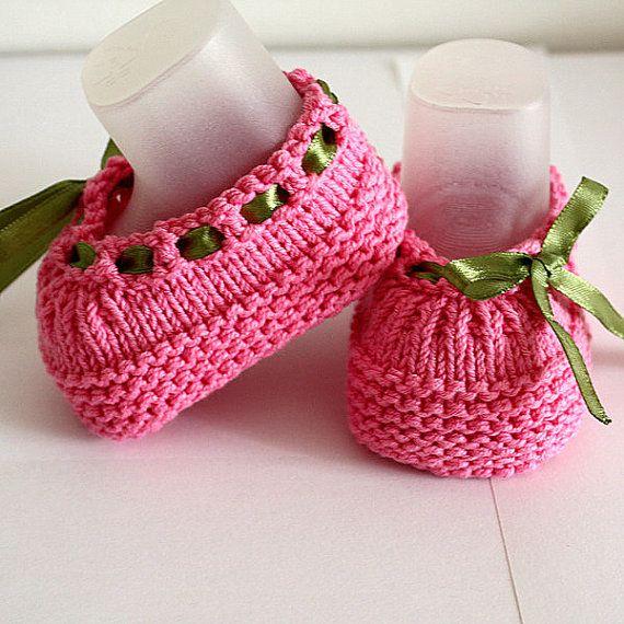 Knitting Pattern (PDF file) Baby Shoes Beatrice (sizes 0-3/3-6/6-12 ...