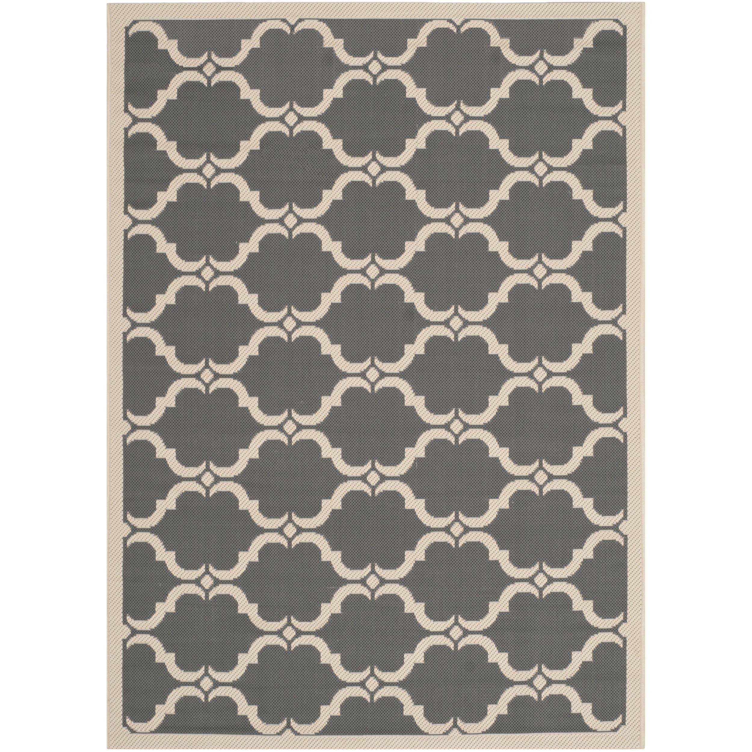 Safavieh Indoor/ Outdoor Moroccan Courtyard Anthracite/ Beige Rug (4' x 5'7) (CY6009-246-4), Grey (Olefin, Geometric)