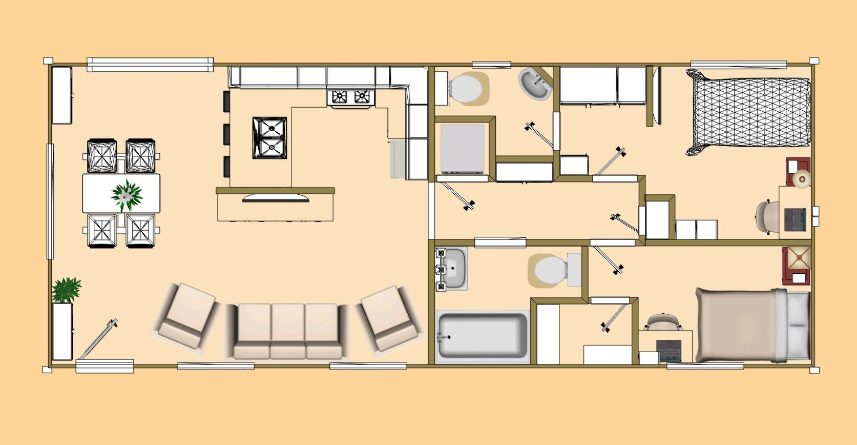 The Floor Plan Of The Flipped 640 Sq Ft Daybreak