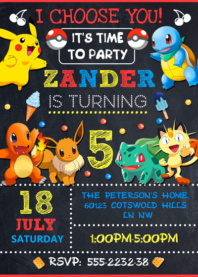 Pokemon Invitation, Pokemon Party, Pokemon Birthday Invitation, Girl