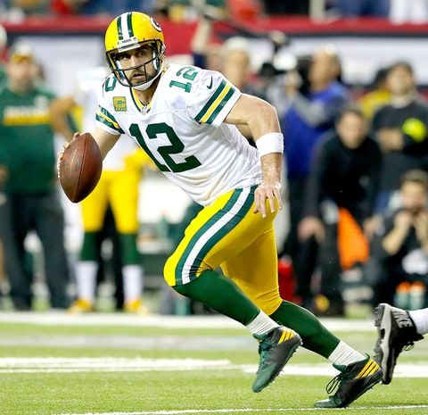 Aaron Rodgers Of The Green Bay Packers Scrambles Against The Atlanta Falcons During The Fourth Quarter In The Nfc Jordan Rodgers Nfc Championship Game Packers