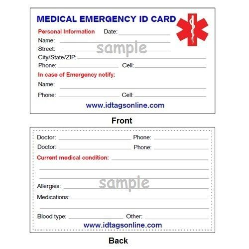 Medical emergency wallet card for medical alert id for Med cards template