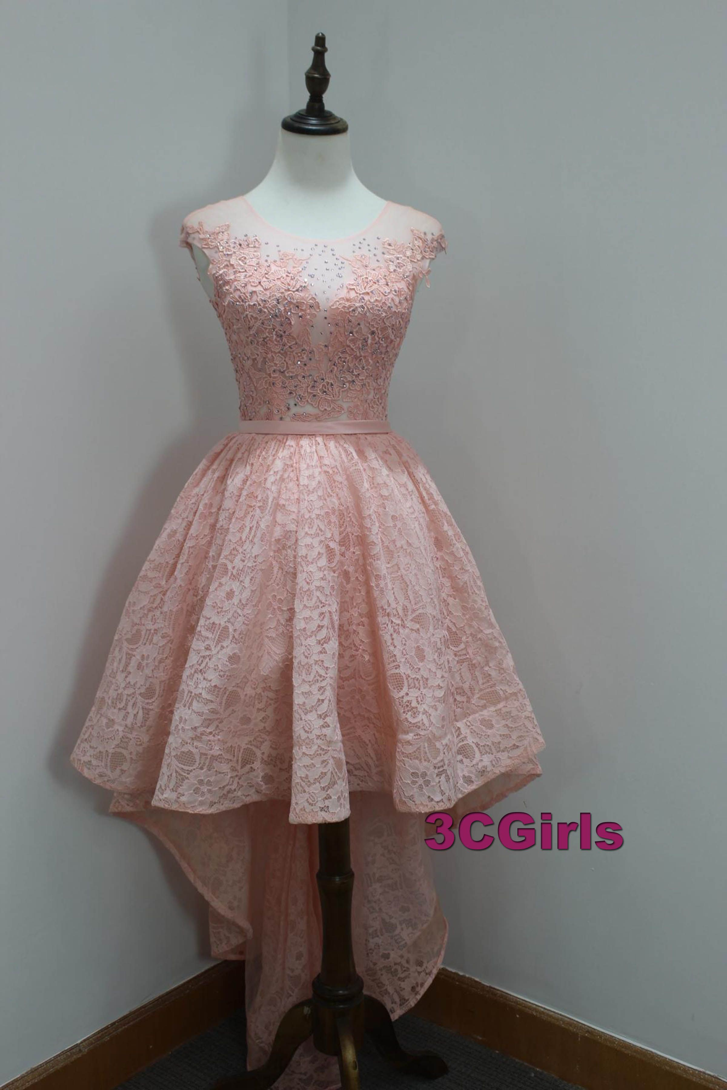 Lace prom dress, high low prom dress, cute pink lace prom dress for ...