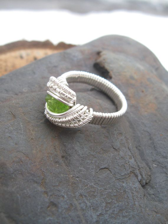 Wire Wrap Ring Size 8 Peridot Ring Wire by SweetWaterSilver