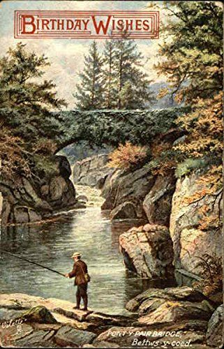 Divided Back Postcard Birthday Wishes A Man Catching Fish Under Pont Y Pair Bridge