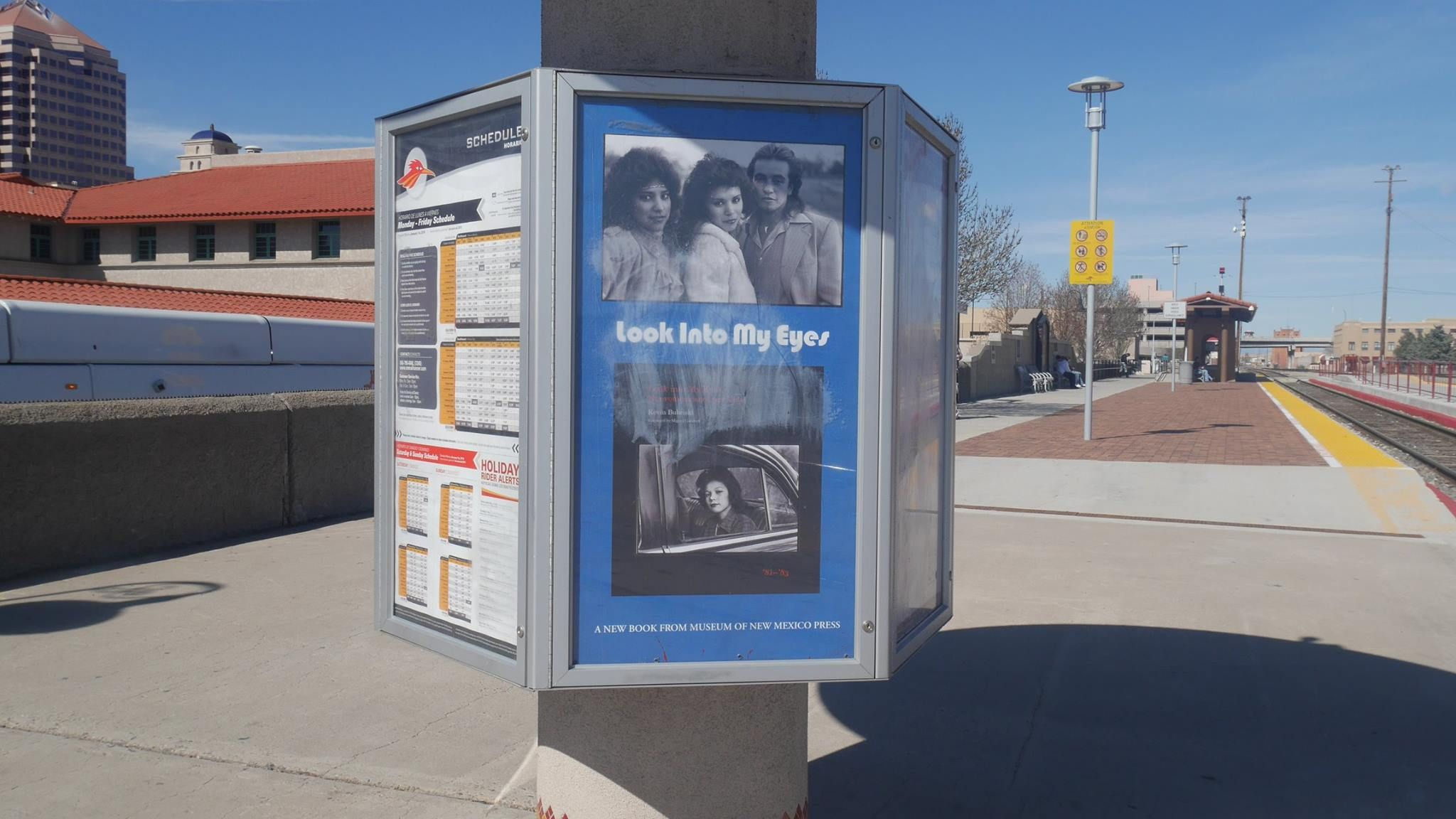 Our ad at the ABQ stop for the New Mexico Rail Runner