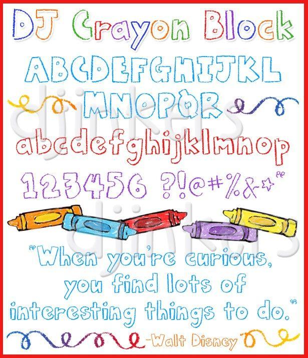 Dj Crayon Block Font Kid Font Crayon Letters Crayon Font