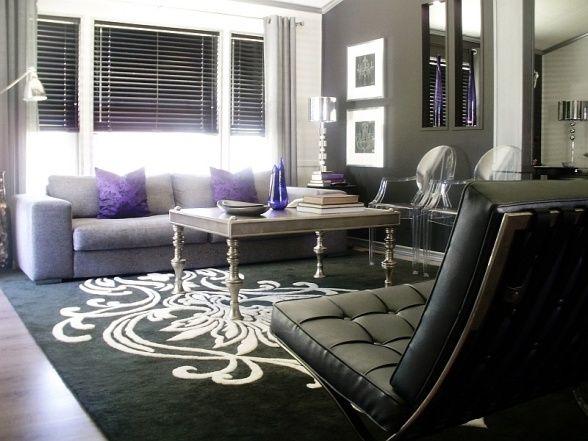 Pops of Violet, Black, white and silver modern living room with subtle pops of violet., Living Rooms Design
