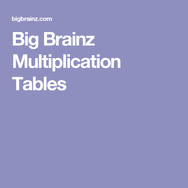 Multiplication · Big Brainz Multiplication Tables