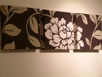 Set of 3 contemporary modern designer retro print design funky chocolate brown cream large flower wall hanging canvases wall art