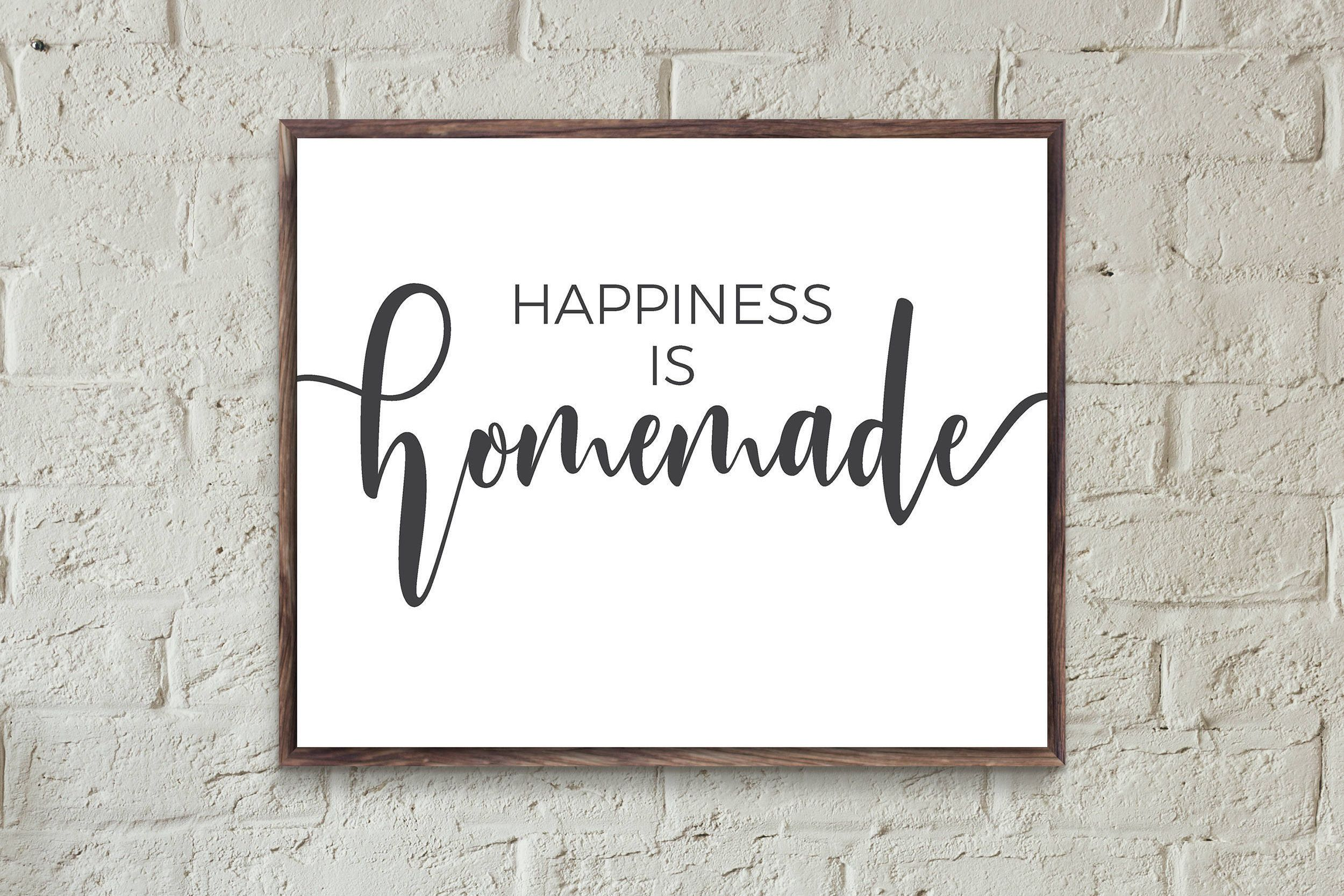 Happiness Is Homemade Typography Print Family Grey Wall Art Quote