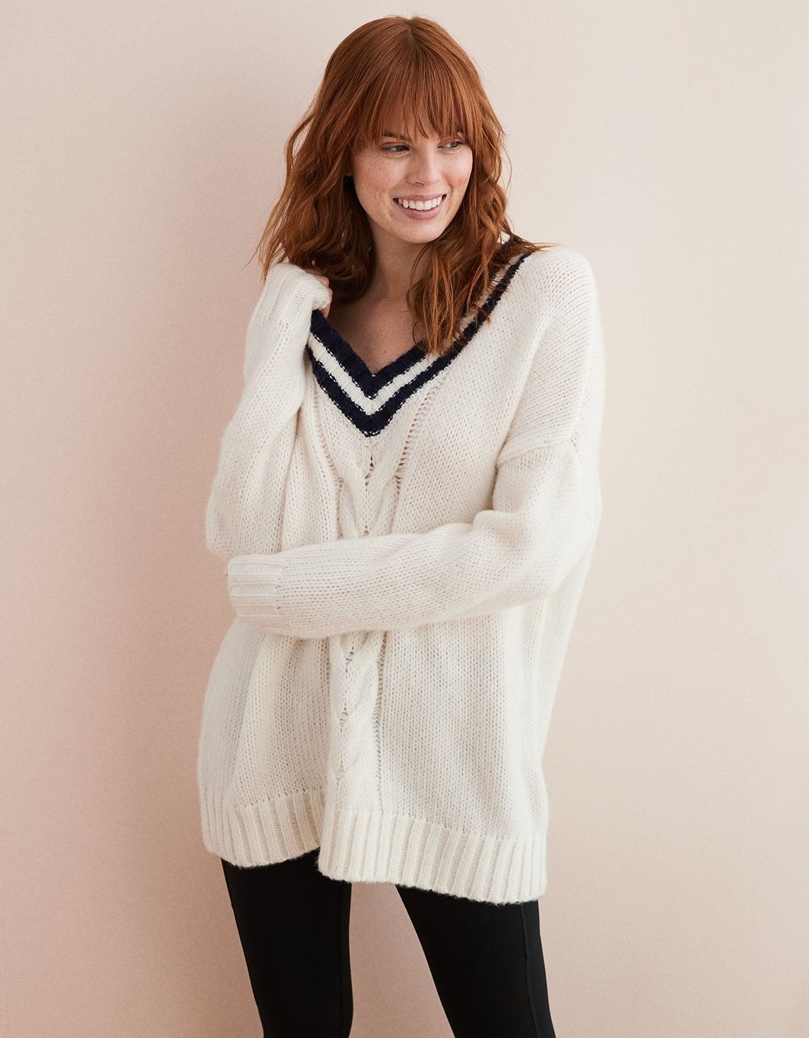 1620095411b Aerie Oversized V-Neck Sweater Natural | Give Real in 2019 ...