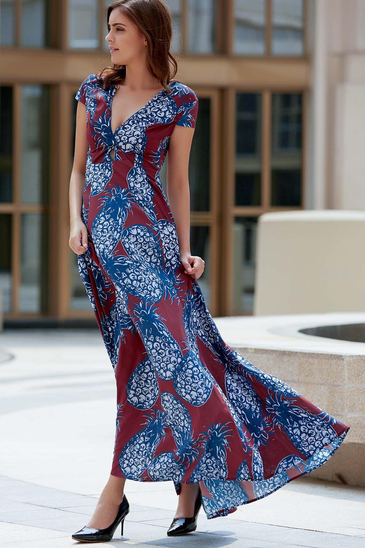 Pineapple print plunging neck short sleeve maxi dress u fas