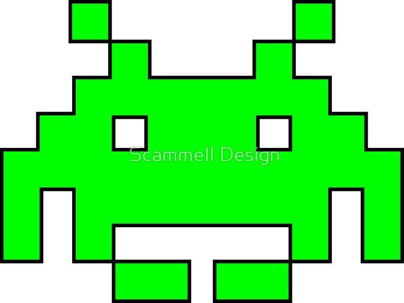 Space Invaders Alien With Outline Ideias De Tatuagens Ideias
