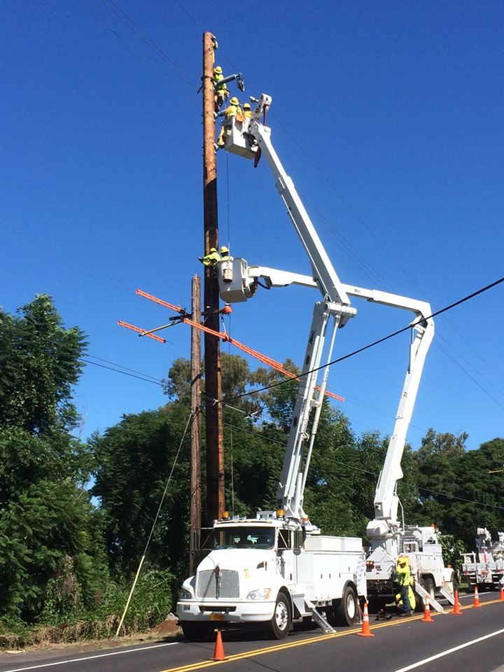 Hawaii Electric Light crews work on projects like this one