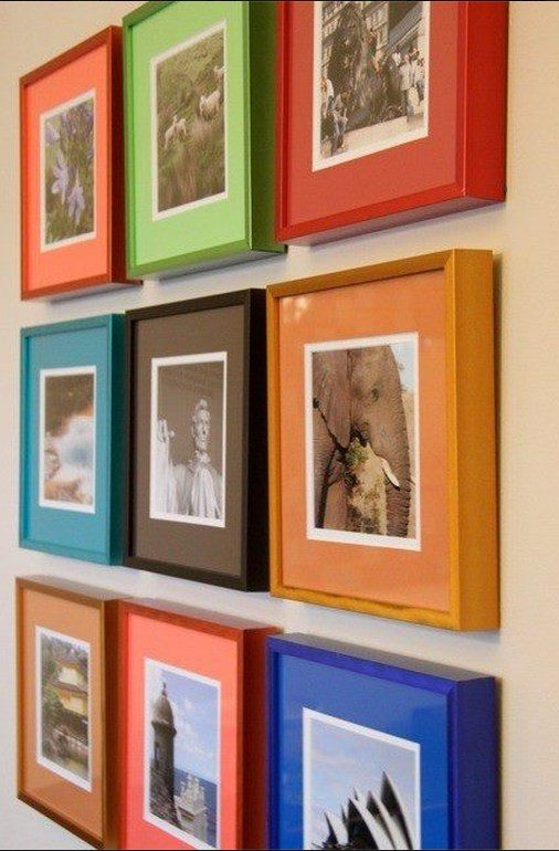 Colourful Square Frames Because We Have Tons Of Square Photos No For Real Art Display Kids Custom Picture Frame Photo Wall Display