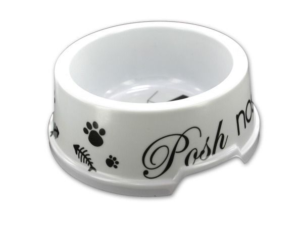 """Melamine Cat Bowl, 12 - Kitty dining has never been so stylish! This melamine cat bowl features a paw print or a fish bone print with various sayings inside. Comes packaged loose with a UPC sticker on bottom. Measures approximately 2"""" tall and 5"""" wide.-Colors: white,green,blue,red. Material: plastic. Weight: 0.0444/unit"""