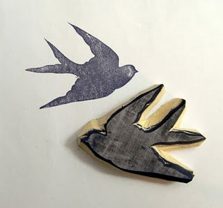 Swallow stamp - hand carved