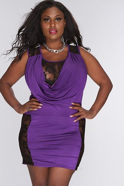 c7615225c0 Purple Floral Mesh Cut Out Draped Sexy Plus Size Dress
