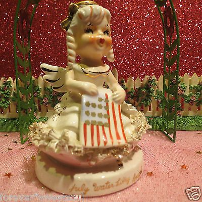 Vtg TMJ July 4th Birthday Angel Holds Flag W Water Lilly Flowers LABEL CUTE