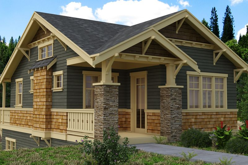 Craftsman style house plan 2 beds 1 baths 980 sq ft plan - How much paint for 1800 sq ft exterior ...