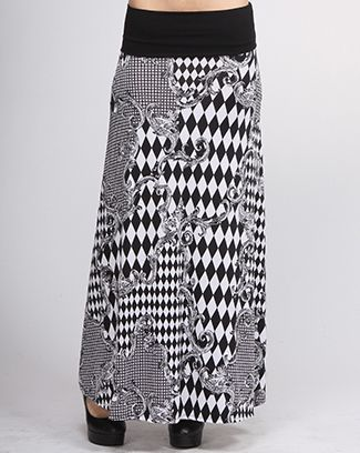 ETHNIC PRINT CHECKER SKIRT, $39.99.  Welcome Summer!  Catch the wave.  Elastic wide band waist.  Flared skirt wiht ethnic print in black and white.  Part of our Black and White collection.  Paired up with the color black or white top.  Enjoy the summer with fun and trendy style clothing.  92% POLYESTER 8% SPANDEX