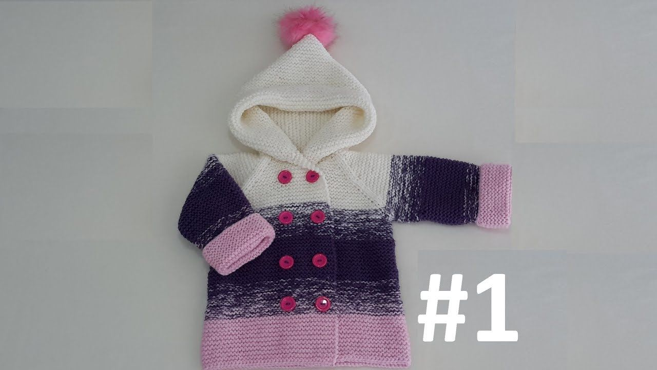 How to Knit - Three-Colored Kids Cardigan/Jacket with a Hoodie #1