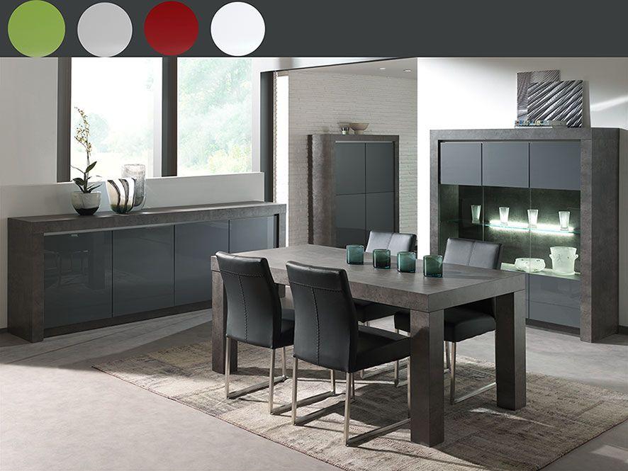 Buffet effet béton ciré couleur gris et blanc laqué | Déco salle à ...